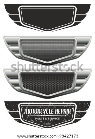 Vector winged automotive, motorcycle badge. Signs and labels. - stock vector