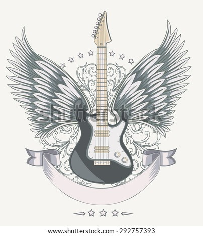 Vector winged guitar emblem - stock vector