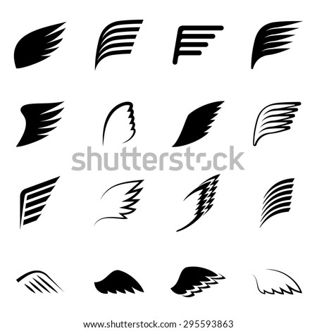 Vector wings icon set - stock vector