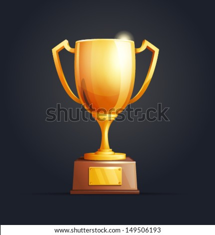 Vector winner cup dark background - stock vector
