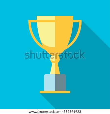Vector winner cup. Trophy flat icon - stock vector