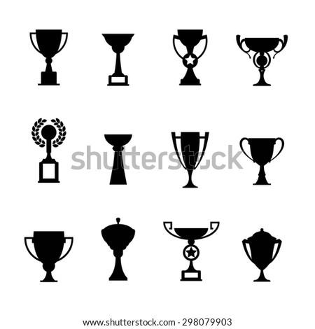 Vector winner cup. Trophy icon set - stock vector