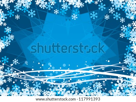 Vector winter background with snowflakes - stock vector