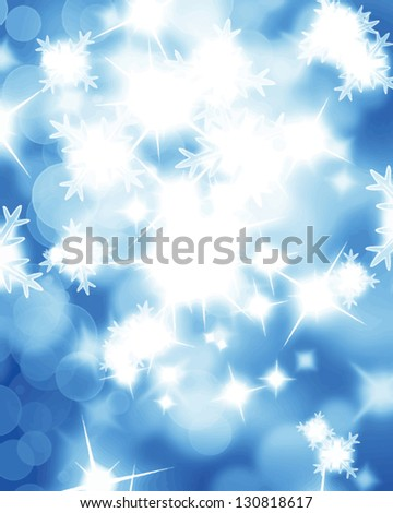 Vector winter background with some soft highlights and snow flakes - stock vector