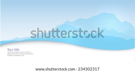 Vector Winter banner with mountain silhouette - stock vector