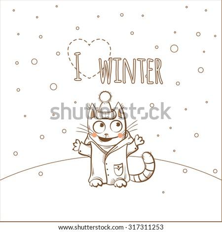 Vector winter card with cute cartoon kitten in  clothes. - stock vector