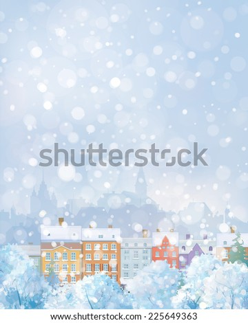 Vector winter cityscape. - stock vector