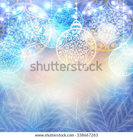 Vector winter frozen background with christmas balls and lights bokeh. Magic icy pattern on glass window with fir trees - stock vector