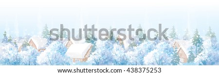 Vector winter landscape. - stock vector