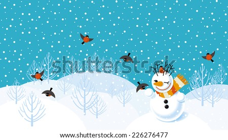 Vector winter landscape background with snowman and bullfinches  - stock vector