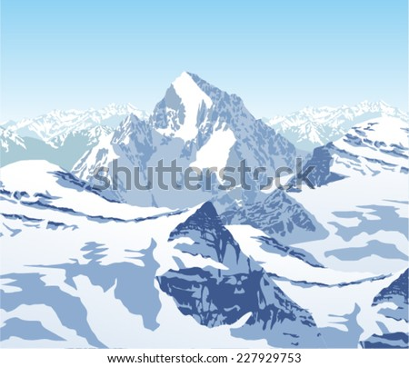 vector winter landscape in the Alps - stock vector