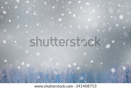 Vector winter landscape, snowfall sky and forest background. - stock vector