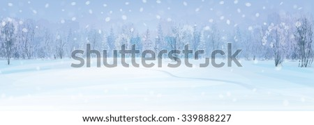Vector winter landscape with forest background. - stock vector