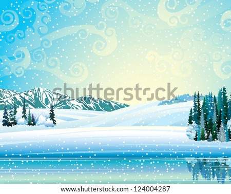 Vector winter landscape with frozen forest, lake and mountains on a snowfall background. - stock vector