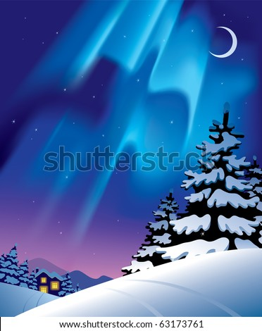 Vector winter landscape with the northern lights - stock vector
