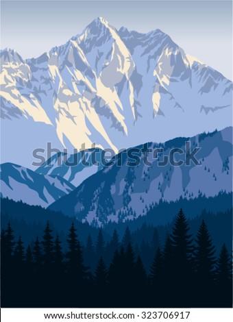 vector winter mountains landscape - stock vector