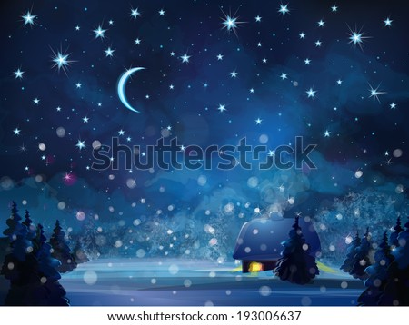 Vector winter night  landscape with house in forest. - stock vector