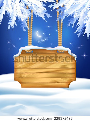 Vector winter night landscape with wooden board, fir tree branches - stock vector