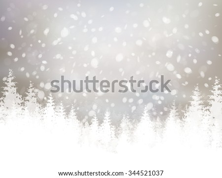 Vector winter scene with snowfall and forest background.  - stock vector
