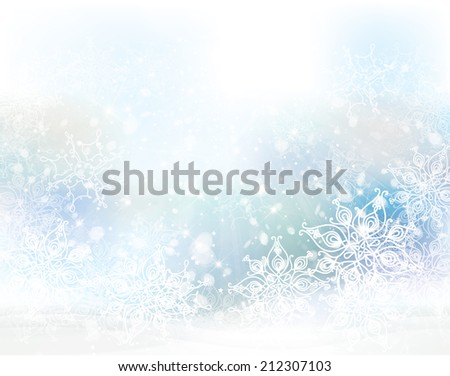 Vector winter snowflakes background. - stock vector