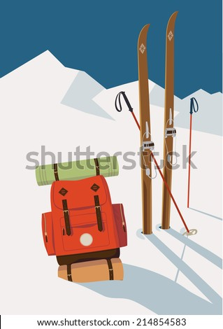 Vector winter themed template with wooden old fashioned skis, poles and red backpack in the snow with mountains and clear sky background | Retro looking minimalistic skiing promotion poster template - stock vector