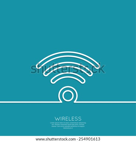 Vector wireless and wifi icons for remote access and communication. Outline. minimal. - stock vector