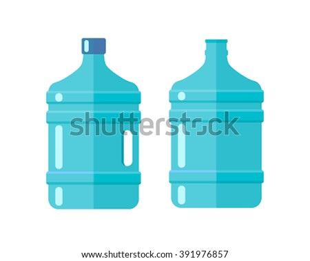 Vector with clear blue water bottle. Bottled water for coolers. Mineral water icon isolate on a white background. set of flat vector - stock vector