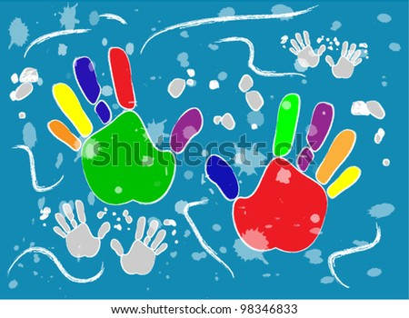 Vector with colored printed hands on blue background for different uses - stock vector