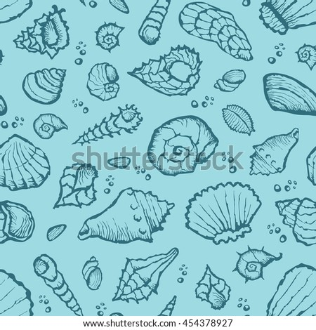 Vector with hand made seamless summer shell pattern  - stock vector