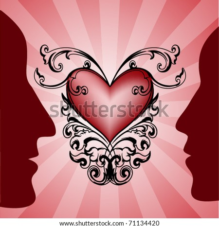 Vector with silhouette of man and woman and decorative heart  for different uses - stock vector