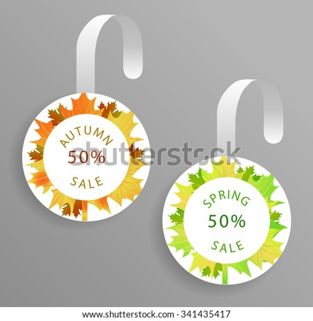 Vector wobbler mockup with transparent strip.Template for your hanging shelf tag design.Autumn sale and Spring sale design for print.Maple Leaves. - stock vector