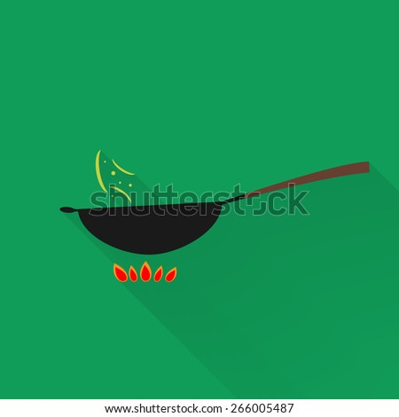 Vector wok pan with long shadow - stock vector