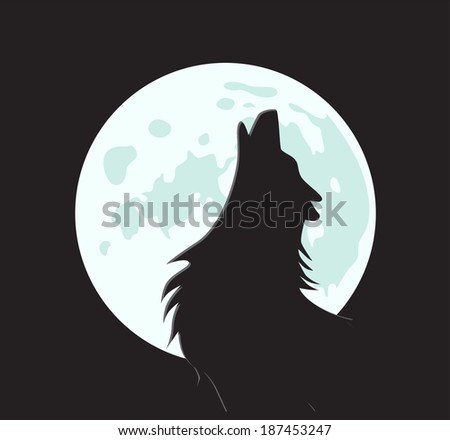 vector wolf howls at the moon - stock vector