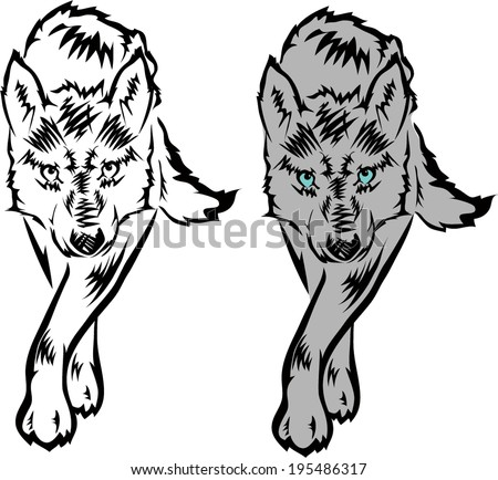 vector wolf tattoo. - stock vector