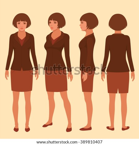 vector woman cartoon character, front, back and side view of secretary - stock vector