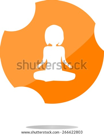 vector woman glossy web icon on white background - stock vector