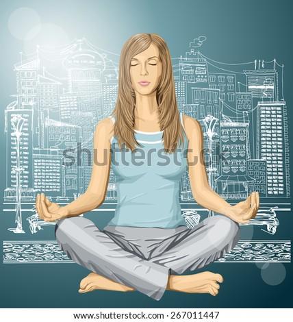 Vector woman meditating in lotus pose in city - stock vector