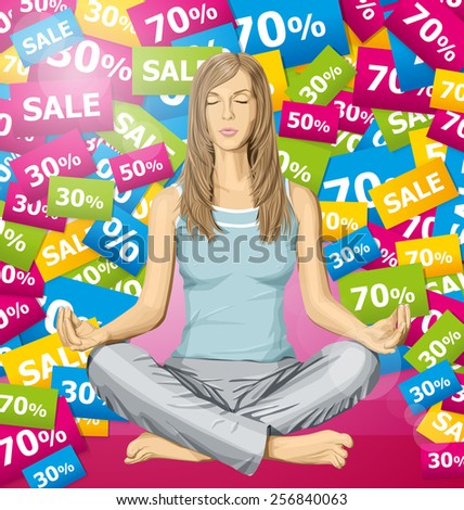 Vector woman meditating in lotus pose thinking about sale - stock vector