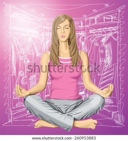 Vector woman meditating in lotus pose thinking about shopping - stock vector