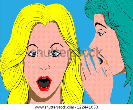Vector-woman telling secrets, pop art retro style illustration - stock vector