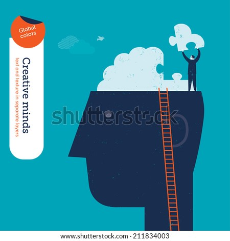 Vector woman with a spyglass on a brain. Vector illustration Eps10 file. Global colors. Text and Texture in separate layers. - stock vector