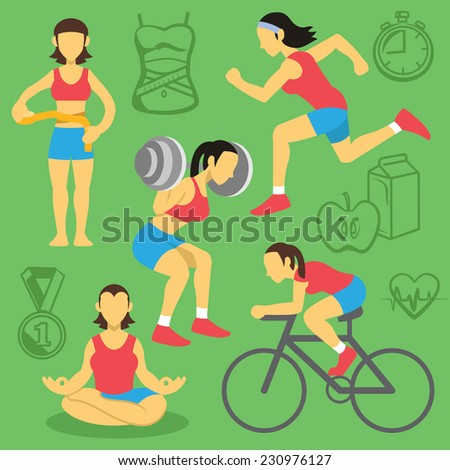 Vector women fitness and bodybuilding flat icons set. Creative background with sport equipment pictograms, symbols. Trendy style graphic design elements. - stock vector