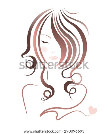 vector women hairstyles on white background - stock vector