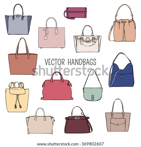 Vector women's colorful handbags isolated on white background - stock vector