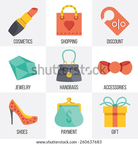 Vector women shopping icons set. Flat design. Isolated on white background. Set 7. - stock vector