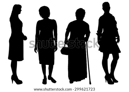 Vector women silhouette on a white background. - stock vector