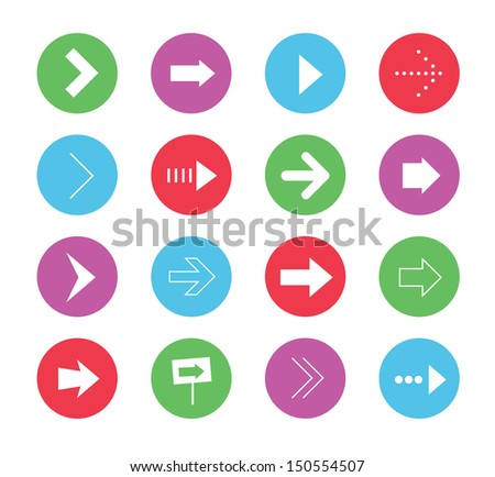 Vector Wonderful Arrows Icons Set 1 - stock vector