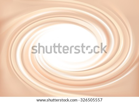 Vector wonderful light pink curvy eddy backdrop with space for text. Beautiful appetizing delicious volute fluid creamy surface with glowing white center in middle of funnel  - stock vector