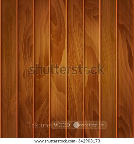 vector wood background (texture) of brown wooden planks - stock vector