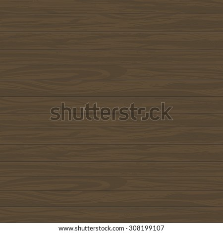 Vector Wood Hand-painted Background | Timber plank dark brown wooden texture for design - stock vector